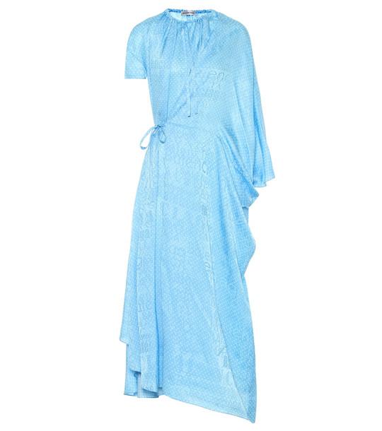 Balenciaga Polka-dot silk midi dress in blue