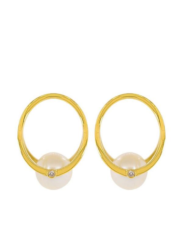 Kat Kim 18kt yellow gold pearl and diamond Oasis earrings