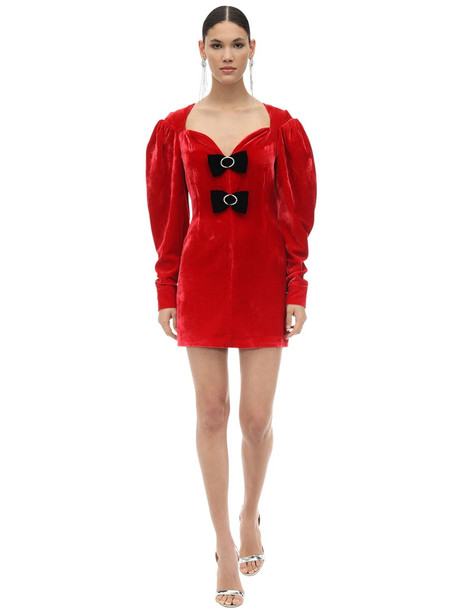 MARIANNA SENCHINA Embellished Viscose & Silk Mini Dress in red