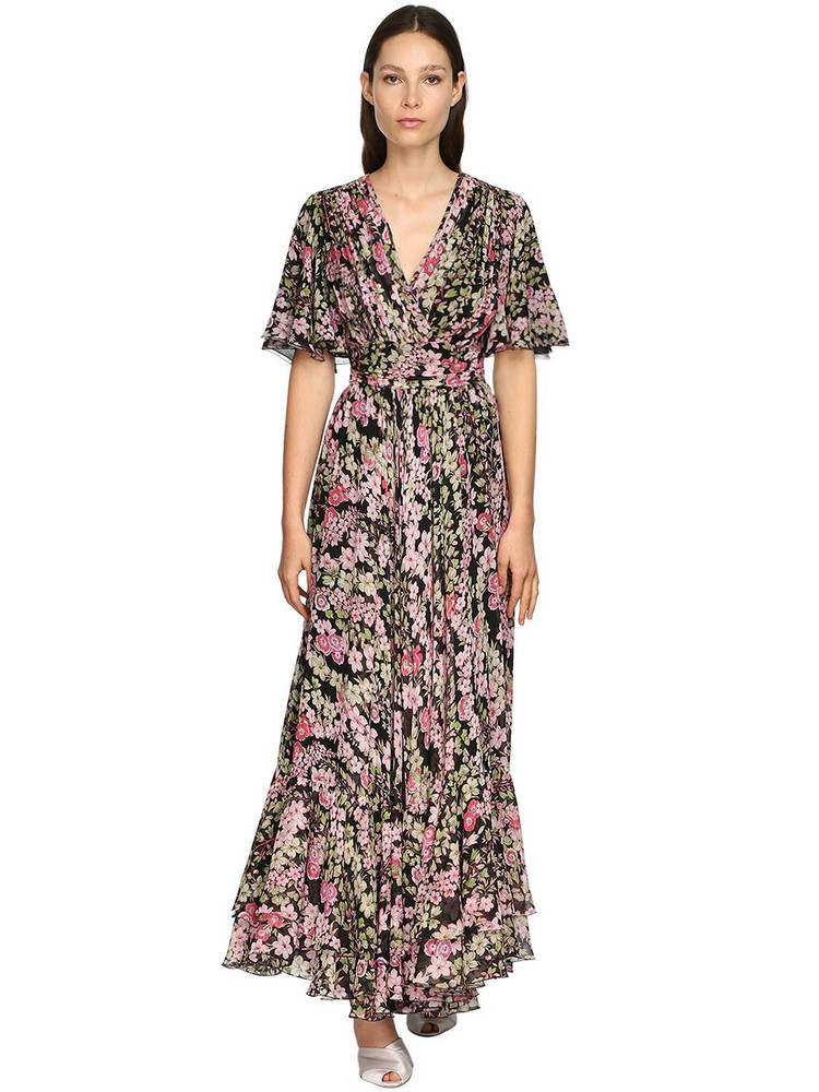 GIAMBATTISTA VALLI Floral Print Silk Georgette Long Dress in black / multi