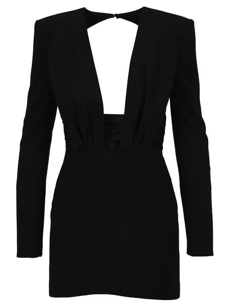 Saint Laurent Structured Shoulder Mini Dress in black
