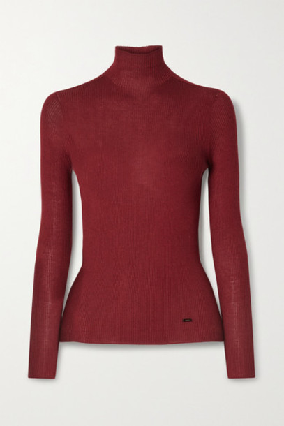 Akris - Ribbed Cashmere And Silk-blend Turtleneck Sweater - Burgundy