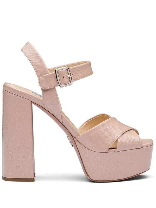 Prada Saffiano platform sandals in pink