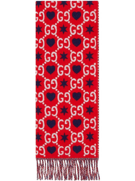 Gucci graphic print monogram pattern scarf in red