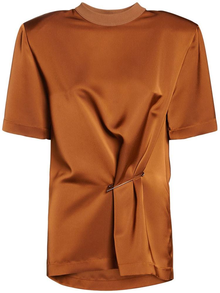 THE ATTICO Draped Double Satin T-shirt in brown