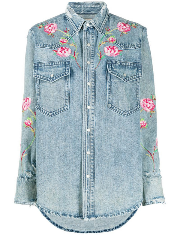 Polo Ralph Lauren floral embroidered denim shirt in blue
