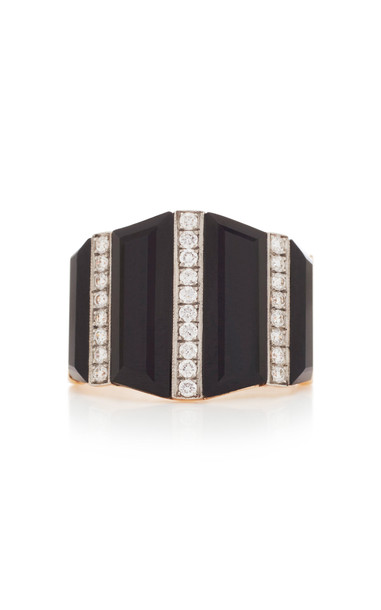 Melis Goral 14K Gold, Onyx And Diamond Ring Size: 7 in black