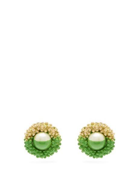 Marine Serre - Paint Dipped Vintage Earrings - Womens - Green