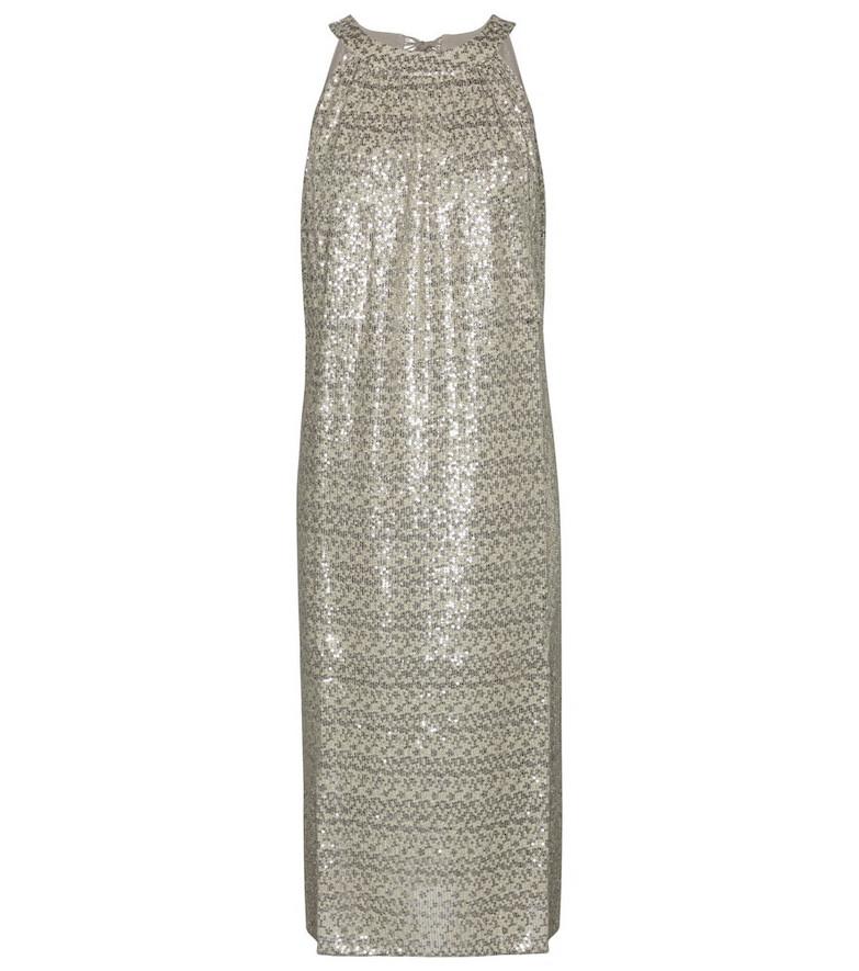 Velvet Yasmeen sequined midi dress in white