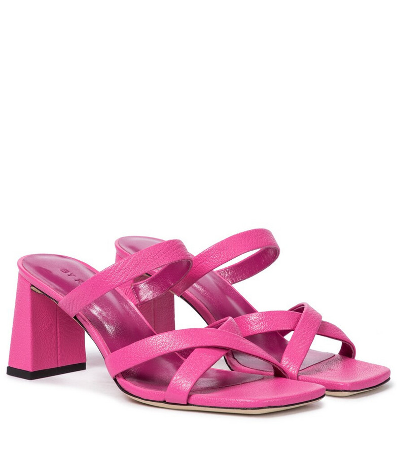 By Far Lenny leather sandals in pink