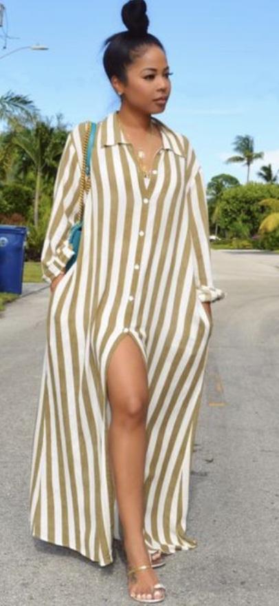 dress bardot button down white tan striped dress maxi dress maxi summer summer dress cream bardot dress button up long dress