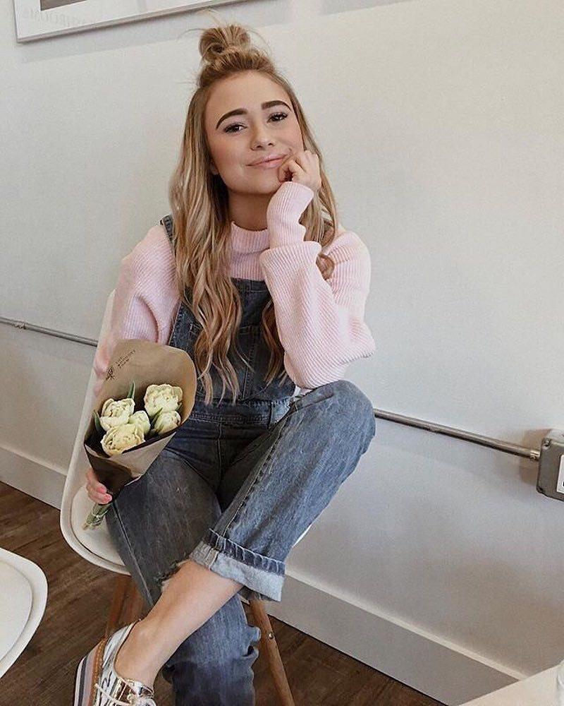 jumpsuit blue jumpsuit sweater pink sweater