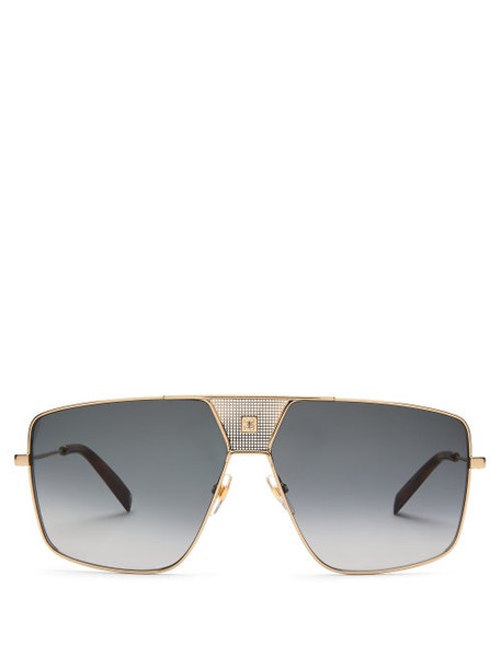 Givenchy - Logo-engraved Flat-top Aviator Metal Sunglasses - Womens - Grey Gold