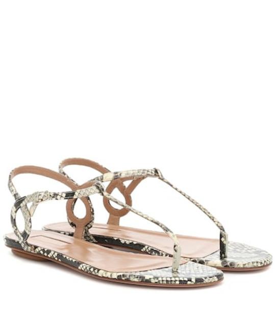 Aquazzura Almost Bare snakeskin sandals in beige
