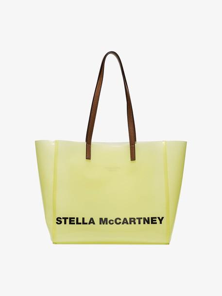 Stella McCartney Yellow logo-print PVC tote bag