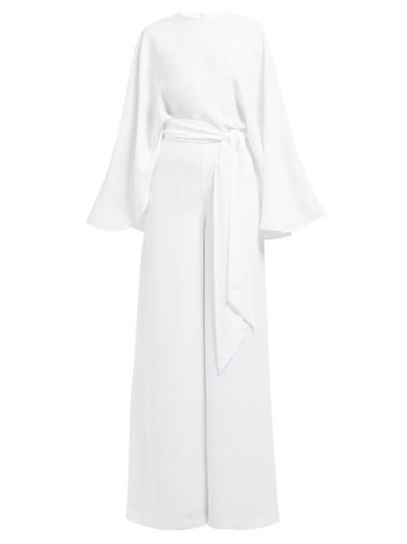 Sara Battaglia - Cape Detail Tie Waist Crepe Jumpsuit - Womens - White