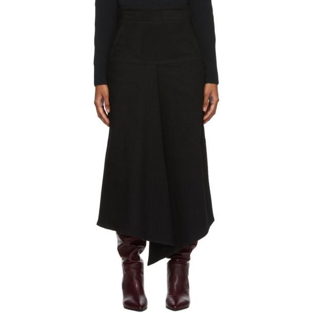 Tibi Black Denim Drape Mid Skirt