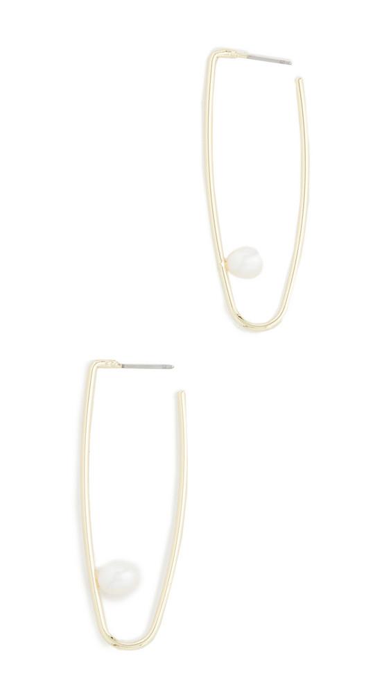 Jules Smith Cultured Pearl Drop Hoop Earrings in gold