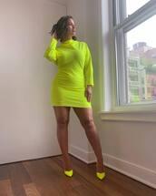 dress,neon,mini dress,pumps,ashley graham,celebrity,curvy,plus size,plus size dress,instagram