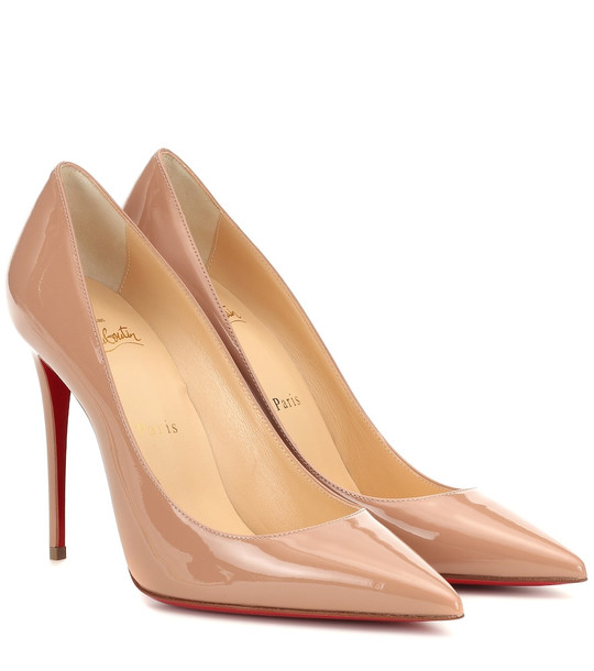 Christian Louboutin Kate 100 patent leather pumps in beige