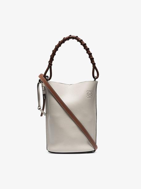 Loewe Nude Gate leather bucket bag in neutrals