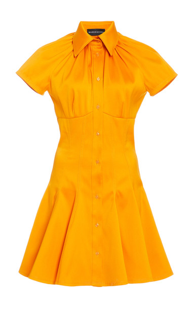 Brandon Maxwell Shirred Collar Mini Shirt Dress in yellow