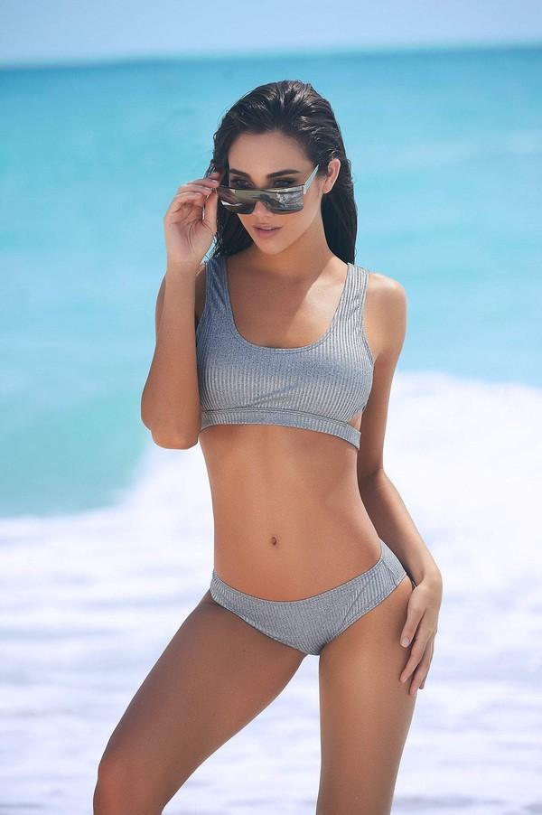 swimwear grey bikini grey swimwear ribbed bikini designer swimwear