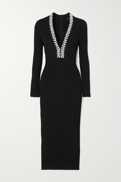BALMAIN - Crystal-embellished Ribbed-knit Midi Dress - Black