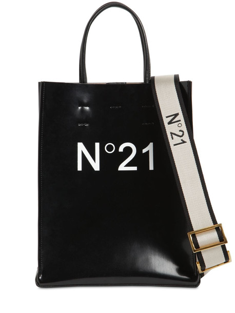 N°21 Small Printed Logo Pvc Shopping Bag in black