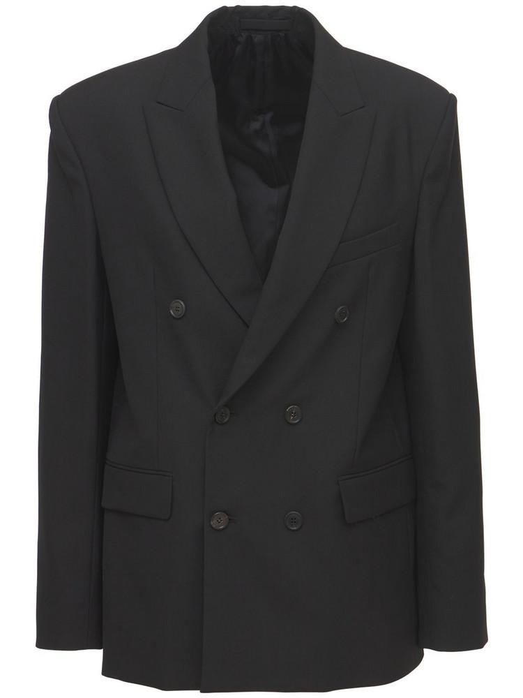 WARDROBE.NYC Double Breasted Wool Blazer in black