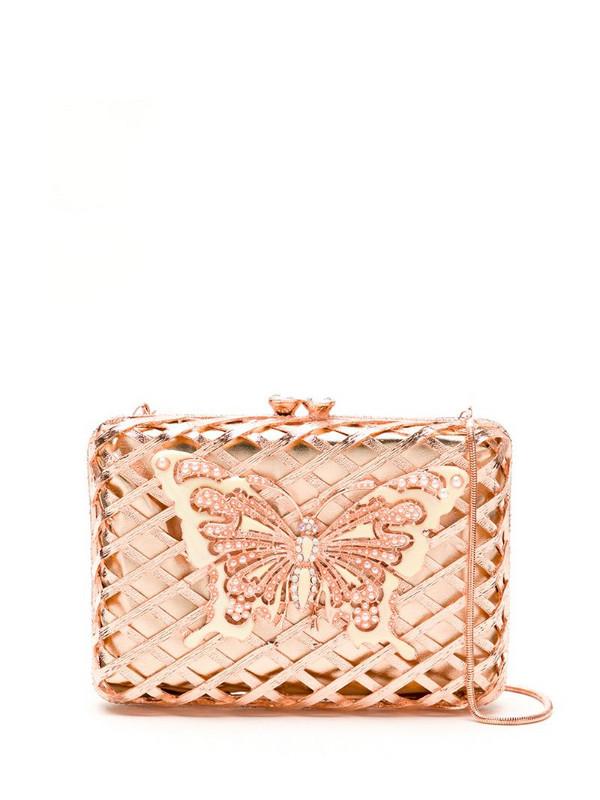 Isla embellished metallic clutch in pink