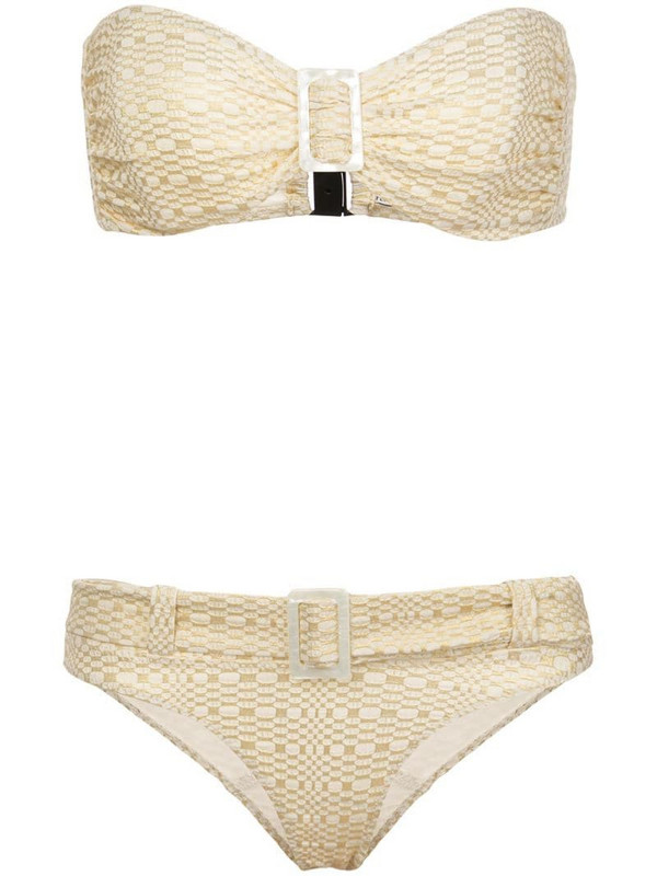 Lisa Marie Fernandez buckled bandeau bikini set in gold