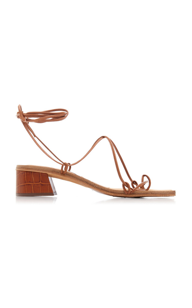 Miista Cimarron Croc-Effect Leather Lace-Up Sandals in brown