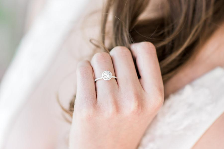 Sterling Silver Halo Setting Engagement Ring
