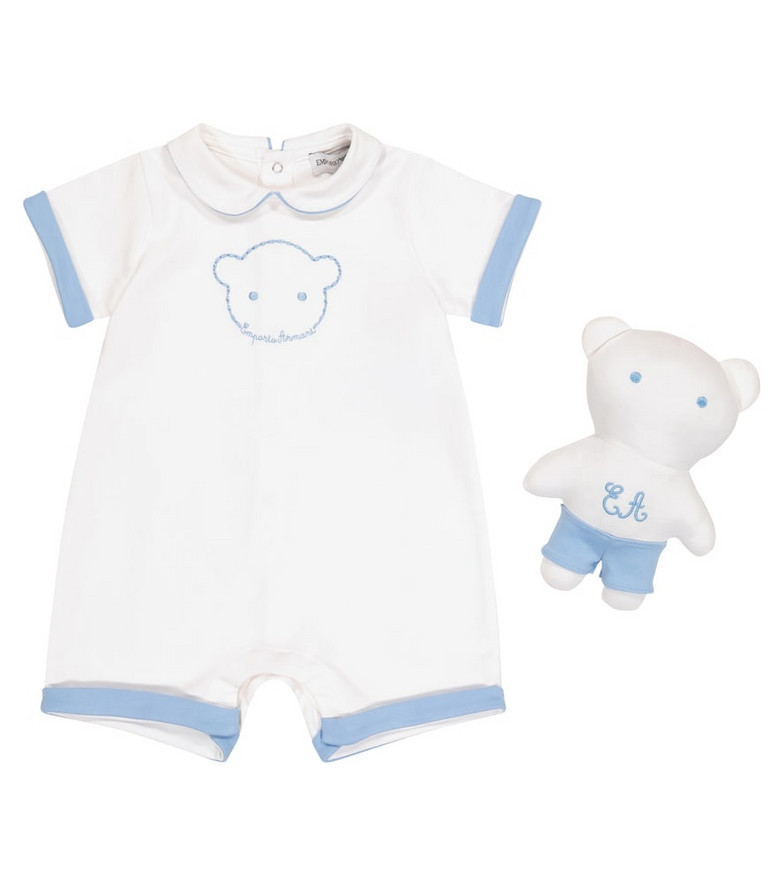 Emporio Armani Kids Baby cotton playsuit and soft toy set in white
