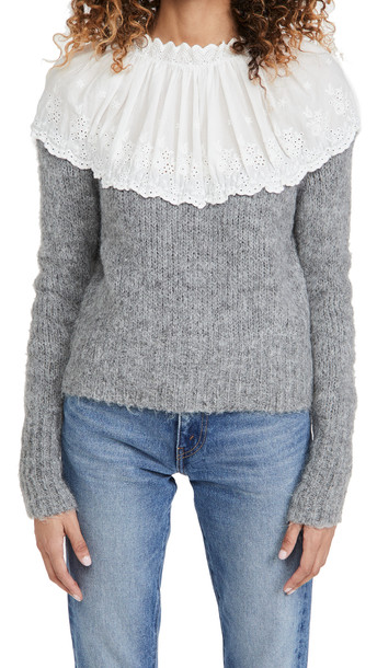 ENGLISH FACTORY Eyelet Combo Sweater in grey / white