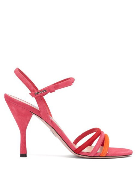 Prada - Trio Strap Slingback Suede And Leather Sandals - Womens - Pink Multi