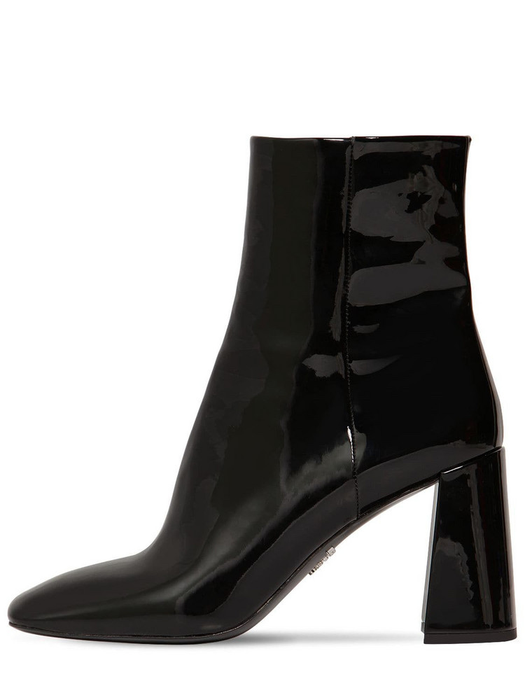 PRADA 85mm Patent Leather Ankle Boots in black