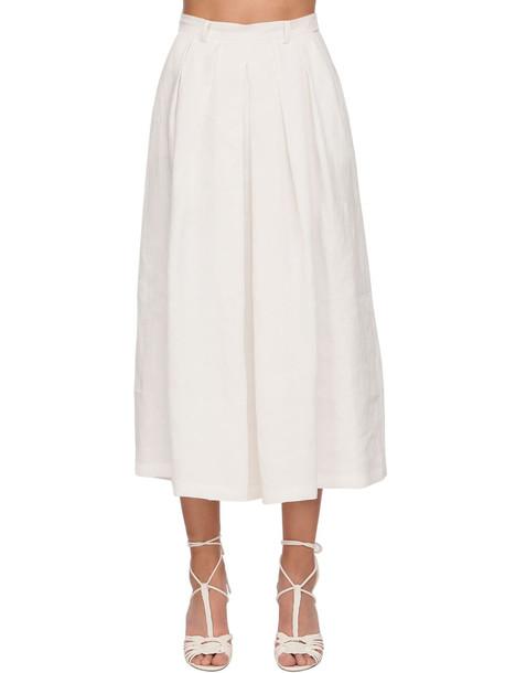 RALPH LAUREN COLLECTION Crop Linen Wide Pants Skirt in white