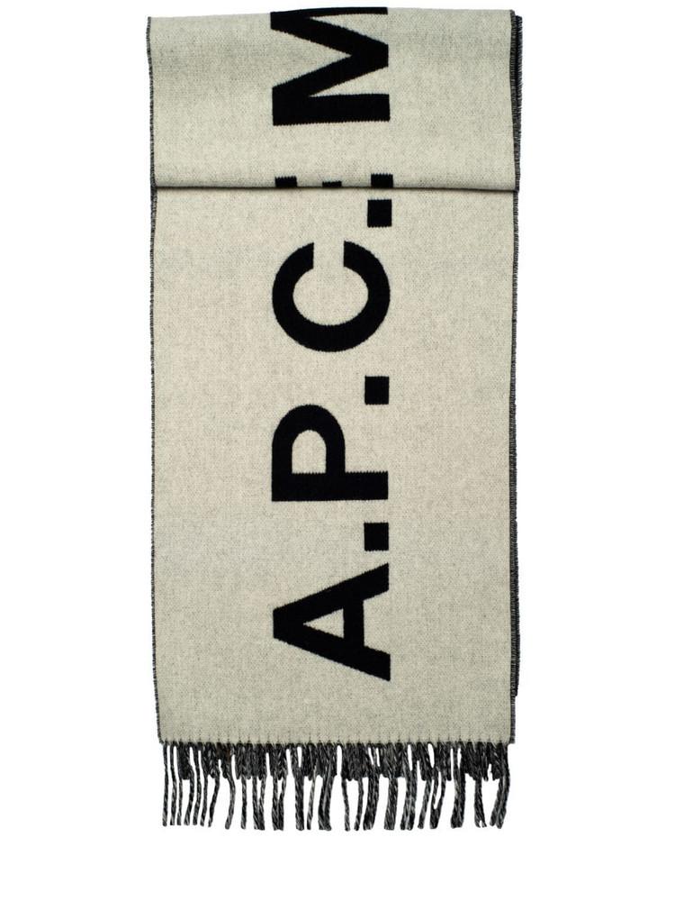 A.P.C. Jacquard Logo Wool Fringed Scarf in black / white
