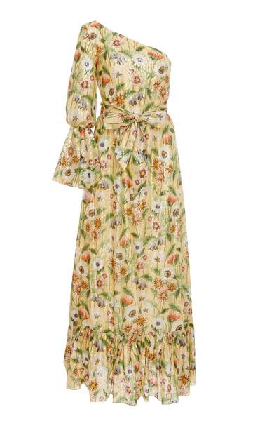 Borgo De Nor Regina Cold-Shoulder Printed Silk-Blend Maxi Dress in yellow