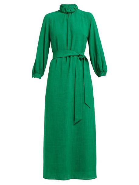 Cefinn - Tie Waist High Neck Voile Midi Dress - Womens - Green