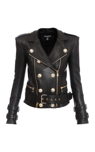 Balmain Structured Button-Front Leather Jacket Size: 34 in black