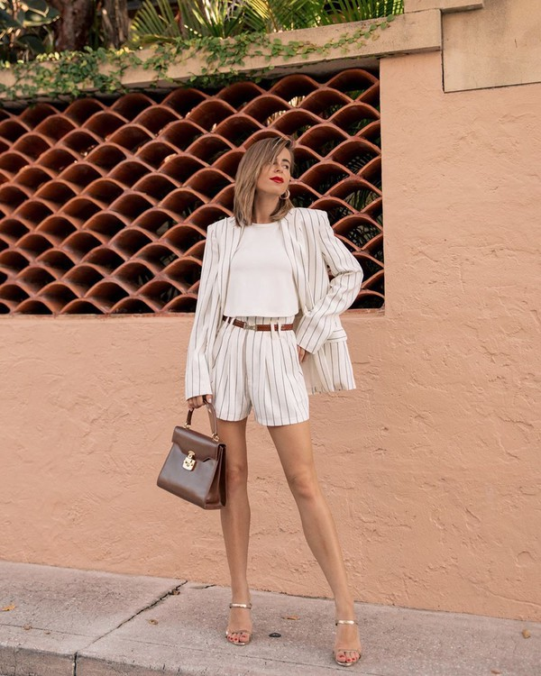 jacket white blazer stripes High waisted shorts striped shorts sandal heels white top brown bag
