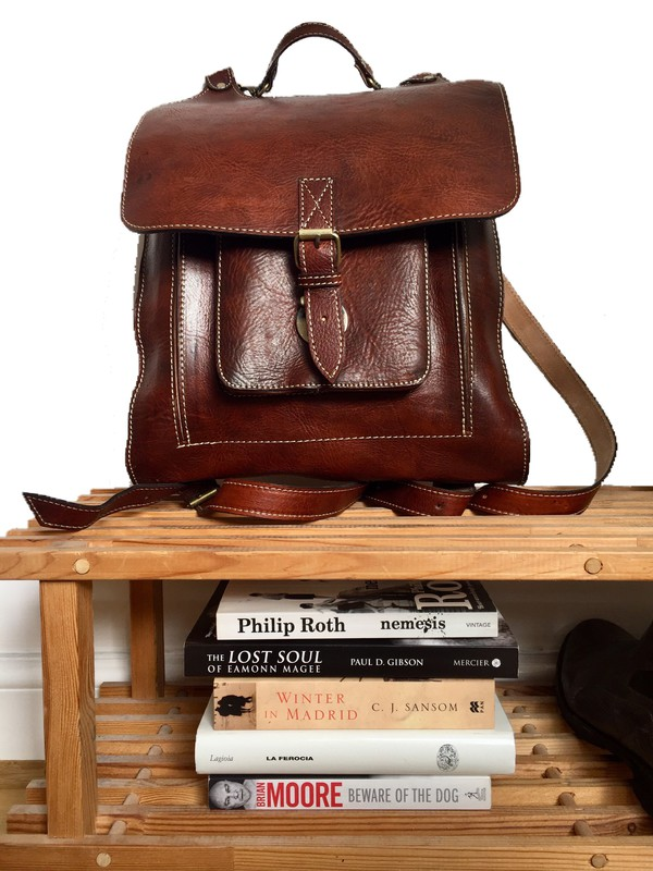 bag brown leather backpack
