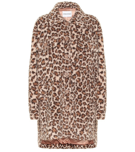Stand Studio Sabi leopard-print faux fur coat in brown