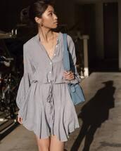 dress,shirt dress,grey dress,mini dress,long sleeve dress,blue bag