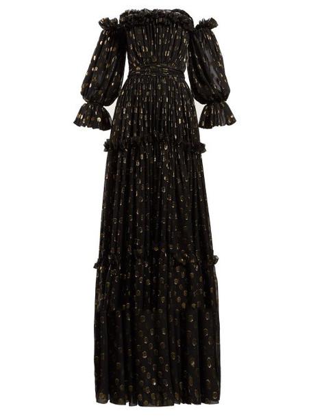 Dolce & Gabbana - Ruffle Off The Shoulder Silk Blend Gown - Womens - Black Gold