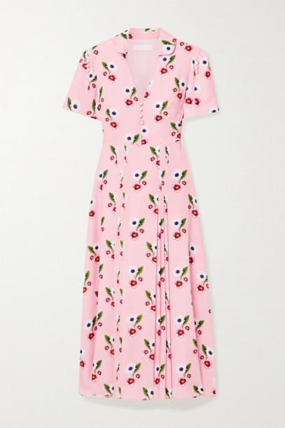 Borgo de Nor - Adelaide Floral-print Crepe Midi Dress - Pastel pink