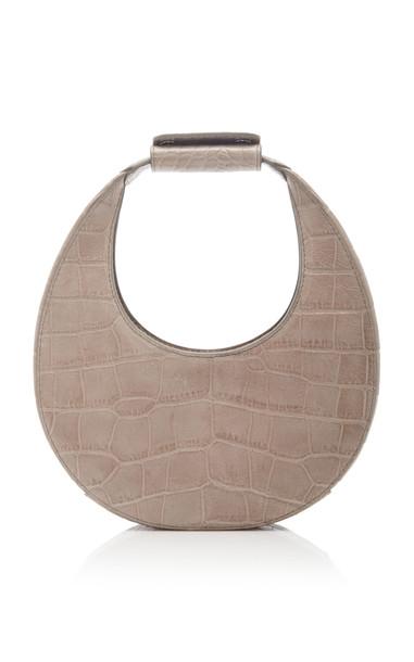 Staud Mini Croc-Effect Leather Moon Bag in grey